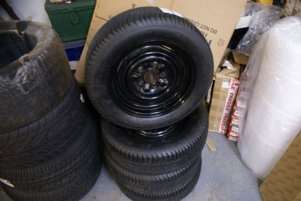 "Set of 4 1953-64 Steel Wheels W/Tyres,3""3/4 back Space,5 Stud 15x6,120.6 Chevy PCD,New"